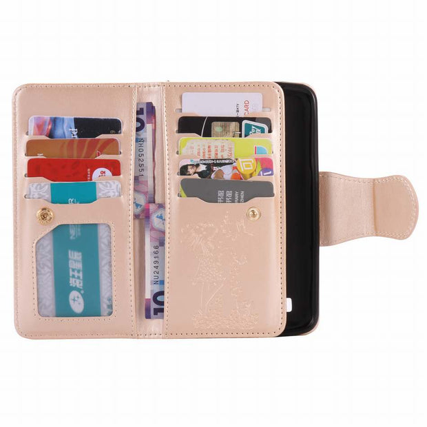 DEEVOLPO 9 Card Slot Mirror Case For LG X Power Wallet Cover For K7 K8 K10 Nexus 5X Beauty Female Leather Handbag Coque DP09