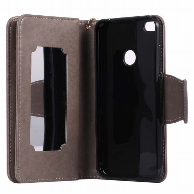 DEEVOLPO Leather Case For Huawei Y3 II Y5 II P8 Lite 2017 P10 Girl Lady 9 Card Slot Mirror Fashion Bag Magnetic Wallet DP09