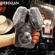 DEROZAN Cute Case For Doogee X60L Case Silicone Soft TPU Rabbit Hair Diamond Anti-knock Phone Back Cover Bag Protective Shell
