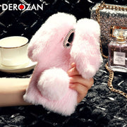 DEROZAN Cute Case For Meizu 16 Case 16th Silicone Soft TPU Rabbit Hair Diamond Anti-knock Phone Back Skin Cover Protective Shell