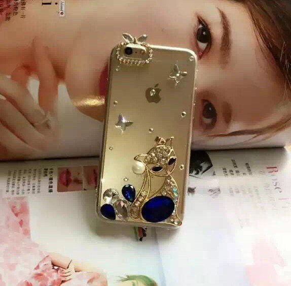 DIY Crystal Rhinestone Fox Case For Iphone XS Max XR X 6 6s 7 8 Plus 7plus S8 S9 Plus S6 S7 Edge 2016 J5 J7 A5 A7 Note8 Note9 I7