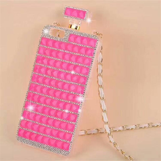 DIY Luxury Case For IPhone Xs Max Case Xr X 8 Plus 7 6 6s 10 Women Perfume Cover Cute Girl Chain Strap Crossbody Bling Diamond