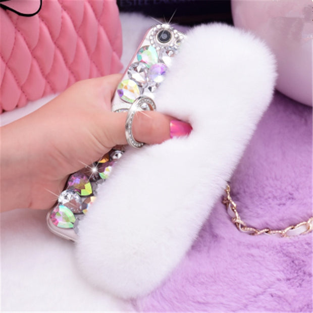 Diamond Real Rabbit Fur Gem Ring Buckle Soft Cover Case For Iphone X XS MAX XR 6 6S Plus 7 8 Plus Luxury Bling Rhinestone Case