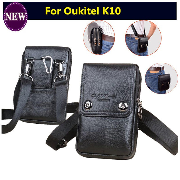 Double Pockets Zipper Genuine Leather Small Belt Waist Bags Men Crossbody Shoulder Bags Phone Pouch Purse Pocket Man Fanny Packs