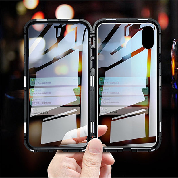 Double Sided Glass Magnetic Case For Iphone XS Max X 7 8 Plus Luxury Metal 360 Degree Full Protection Cover For Iphone 7 8 Xr