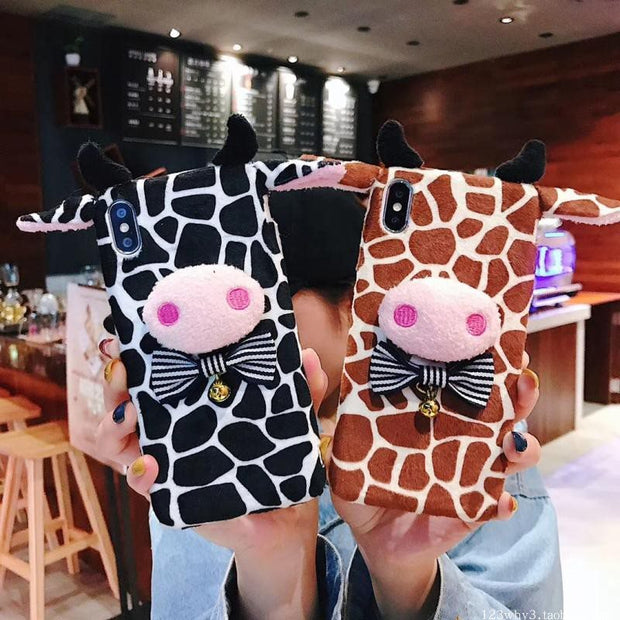 Dower Me Fashion 3D Cute Cartoon Fluffy Leopard Print Cow Winter Warm Soft Phone Case Cover For Iphone XS Max XR X 8 7 6S Plus