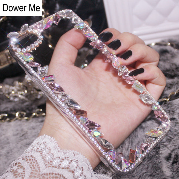 Dower Me Fashion Bling Crystal Special Shaped Diamond Acrylic Phone Case Cover For Iphone XS Max XR X 8 7 6 6S Plus 5 5S SE
