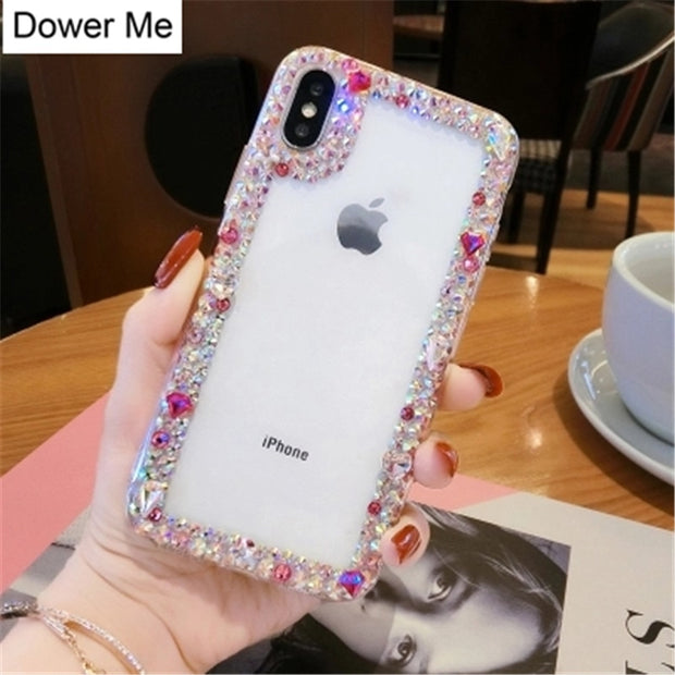 Dower Me Fashion DIY Handmade Bling Colorful Crystal Diamond Soft Clear Case Cover For IPhone X 8 7 6 6S Plus 5 5S SE