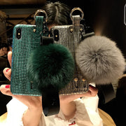 Dower Me Fashion Real Fox Fur Ball Wrist Strap Crocodile PU Leather Hand Chain Case Cover For IPhone XS Max XR X 8 7 6 6S Plus