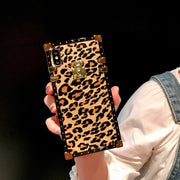 Dower Me Fashion Rivet Square Box Leopard Print Case Cover For IPhone XS Max XR X 8 7 6S Plus Samsung Galaxy NOTE 9 8 S9 S8 Plus