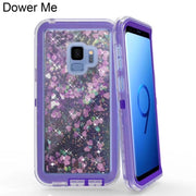 Dower Me Full Protection 3 In 1 Clear Liquid Quicksand Bling Glitter Case Cover For Samsung Galaxy Note 9 8 S9 S8 Plus S7 Edge