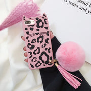 Dower Me Leopard Cartoon Cat Silicone Case Cover With Real Rabbit Fur Ball Tassel Pendant For Iphone XS Max XR X 8 7 6 6S Plus
