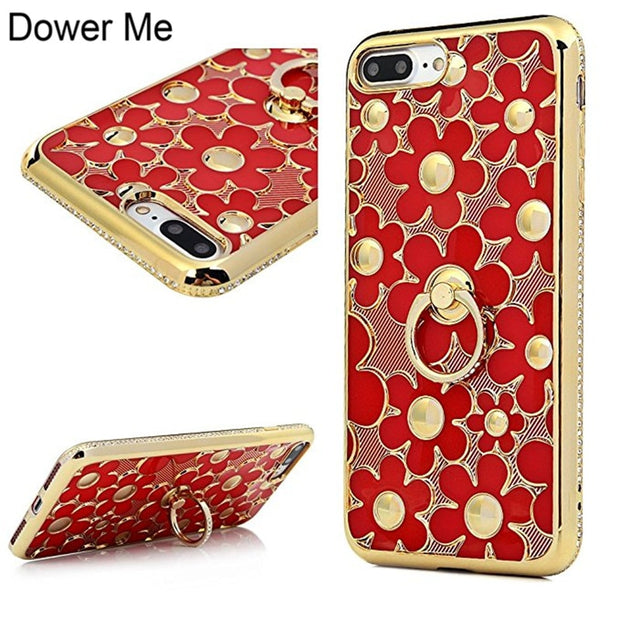 Dower Me Luxury Fashion 3D Hollow Out Daisy Flower Electroplate Case Cover With Diamond Finger Ring For Iphone X 8 7 6 6S Plus