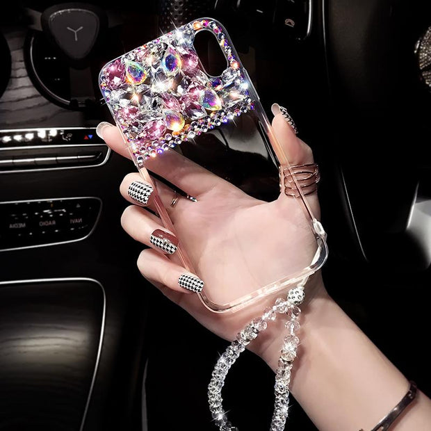 Dower Me Luxury Fashion Bling Diamond Transparent Case Cover With Crystal Chain For IPhone XS Max XR X 8 7 6 6S Plus 5 5S SE
