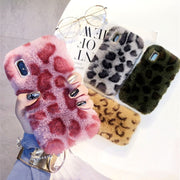 Dower Me Luxury Winter Fashion Sexy Leopard Print Warm Soft Fluffy Rabbit Fur Case Cover For Iphone XS Max XR X 8 7 6 6S Plus