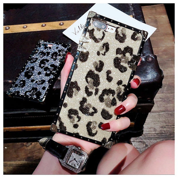 Dower Me Rivet Square Box Sexy Leopard Print Case Cover For IPhone XS Max XR X 8 7 6 6S Plus Samsung Galaxy NOTE 9 8 S9 S8 Plus