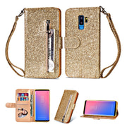 Dower Me Zipper Wallet Flip Card Slot Holder Bling Glitter Leather Case Cover For Samsung Galalxy S6 S7 Edge S8 S9 Plus Note 9 8
