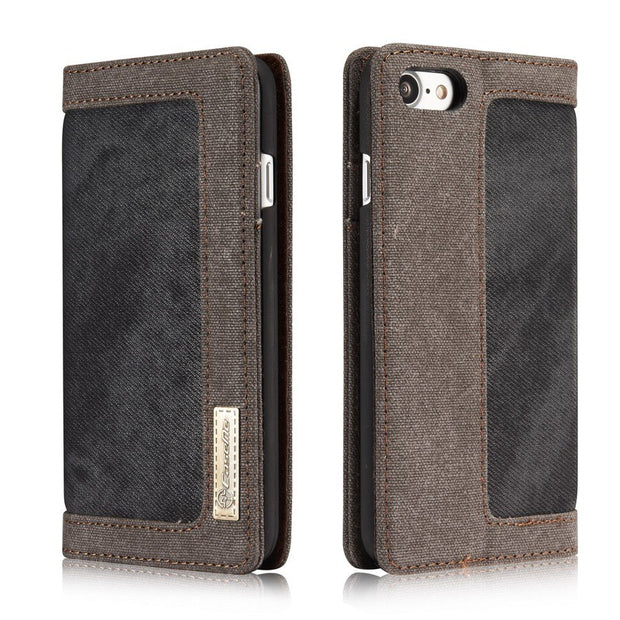 Dual Colors Denim Flip Case For Apple IPhone 7/8 (4.7 Inch) Built-in Magnet High Quality Fashion Cover Coque Brand Original