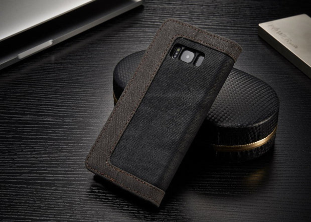 Dual Colors Denim Material Cover Case For Samsung Galaxy S8 Built-in Magnet Fundas Metal Logo Capas Phone Bag For Galaxy S8