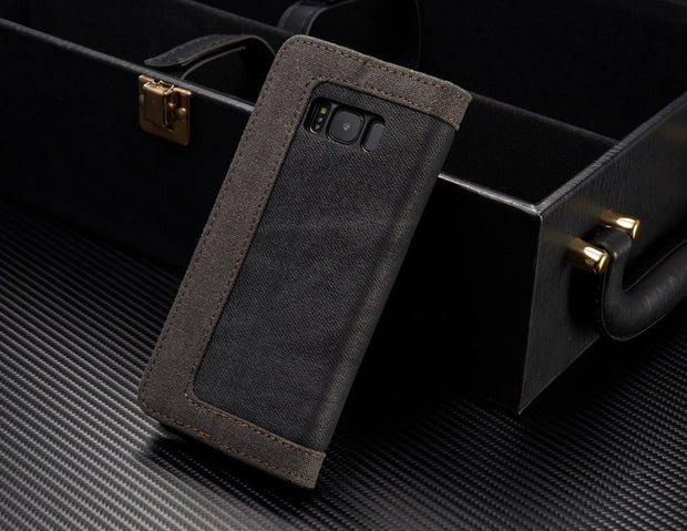 Dual Colors Denim Material Cover Case For Samsung Galaxy S8 Plus Built-in Magnet Fundas Metal Logo Phone Bag For Samsung S8+