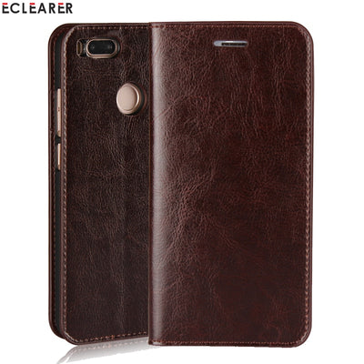 ECLEARER Wallet Case For Xiaomi Mi A1 Genuine Leather Case MiA1 Vintage Stand Card Slots Flip Case For For Xiaomi Mi 5X Cover