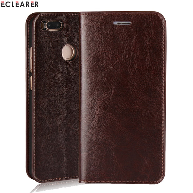 watch ba187 73e86 ECLEARER Wallet Case For Xiaomi Mi A1 Genuine Leather Case MiA1 Vintage  Stand Card Slots Flip Case For For Xiaomi Mi 5X Cover