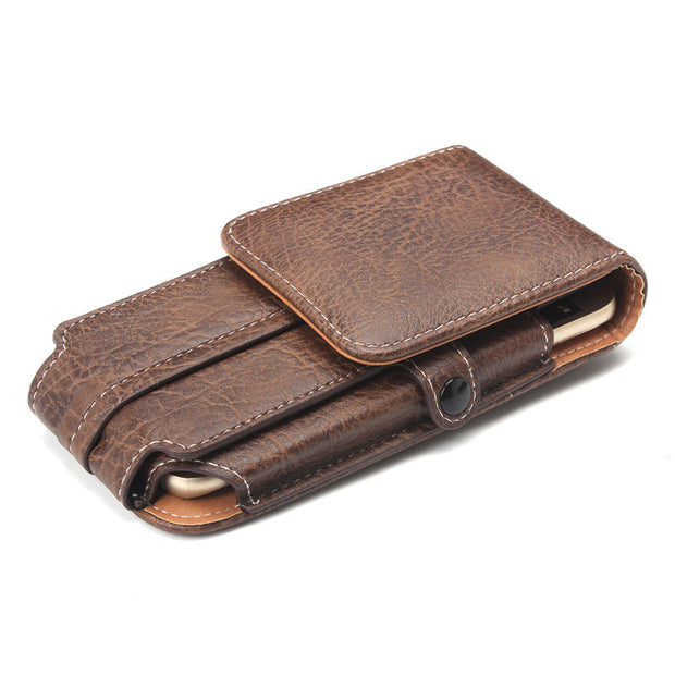 ENKAY Newest 5.1 Inch Luxury PU Leather Flip Stone Pattern Card Holder Phone Bag Pouch For Mountain-Climbing Hook Loop Belt Bag