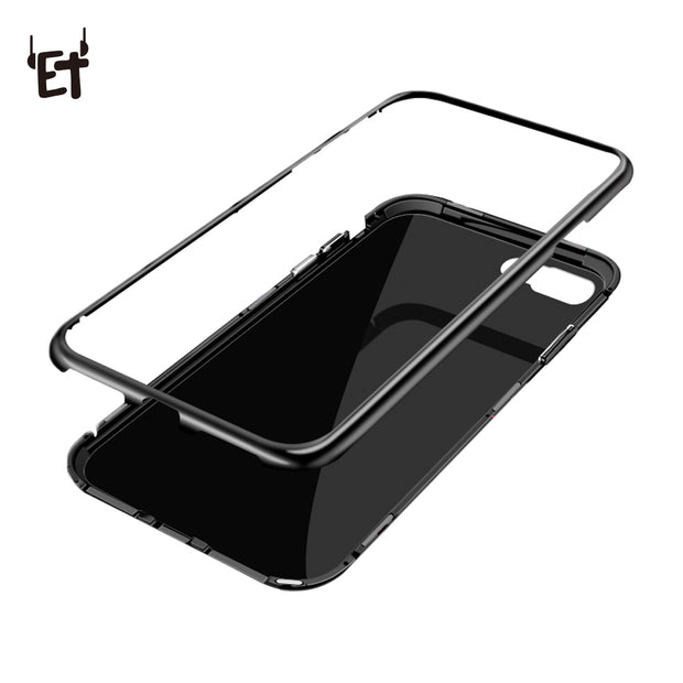 ET Transparant Magnetic Adsorption Flip Phone Case For IPhone X 8 7 6 Plus Tempered Glass Metal Absorption Back Glass Cover Case