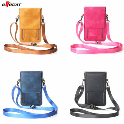 Effelon Universal PU Leather Phone Bag Shoulder Pocket Wallet Pouch Case Neck Strap For Samsung S8 Plus S8 For IPhone 7 6s Plus
