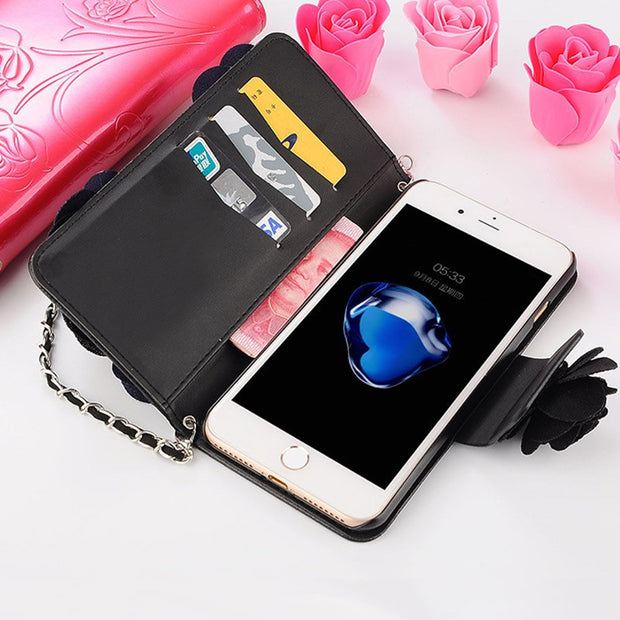 Elegance Luxury 3D Rose Flower Phone Case For Samsung Galaxy S9 S8 Plus S7 Edge Rope Wattle Cover For Samsung Galaxy Note 9 8 5