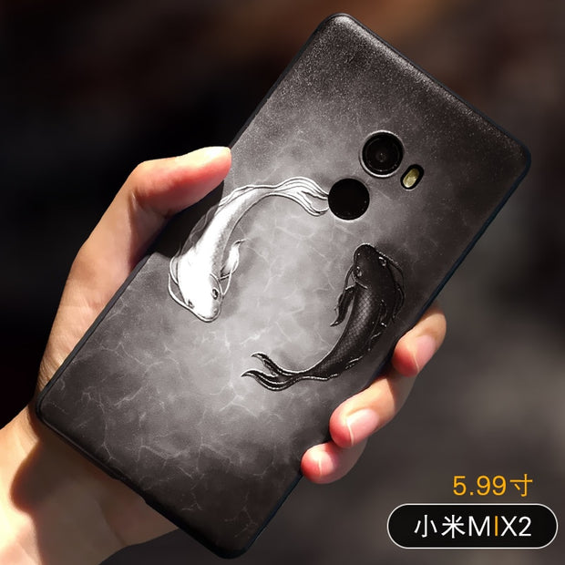 Embossed Vintage East Asian Chinese Japanese Style Case For Xiaomi Mi Mix 2 Snow Mountain Decree Crane For Mi Mix2 Cover