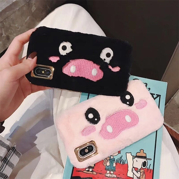 Embroidery Fashion Phone Cover For Iphone6 6s 7 7plus Cartoon Pig Soft TPU Phone Back Cover For Iphone 8 8plus X XS XSMAX XR