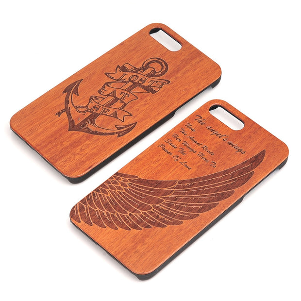 Engraving Pattern Real Wood Case For IPhone 7 /7 Plus Natural Wood Hard+PC Back Phone Cover High Quality Durable