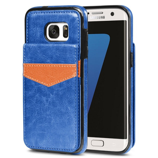Esing ID Credit Slots&Stand Design Premium PU Leather Wallet Case Back Flip Cover For Samsung Galaxy S7/S7 Edge/J5 Prime J7 2016