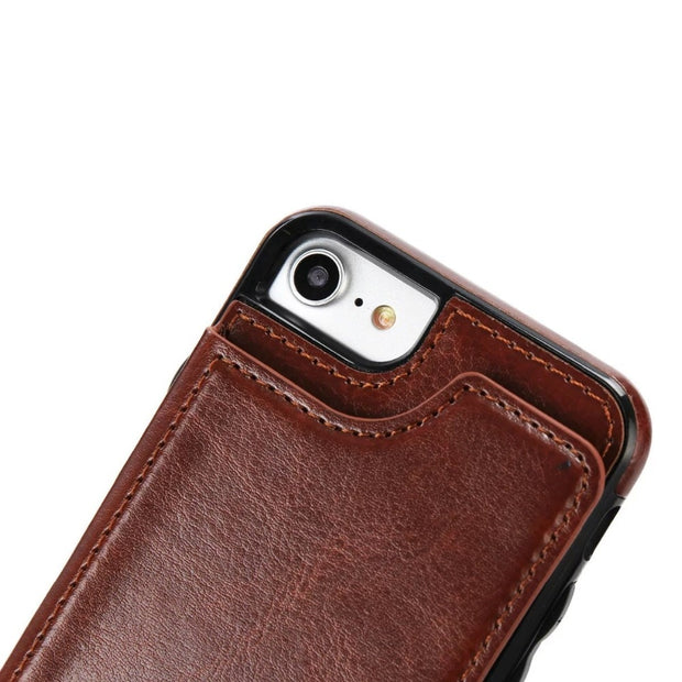 Esing Premium PU Leather Card Slots Wallet Case Left-right Flip Stand Back Cover For Iphone 5SE 6 6S 7 Plus Phone Coque Capa