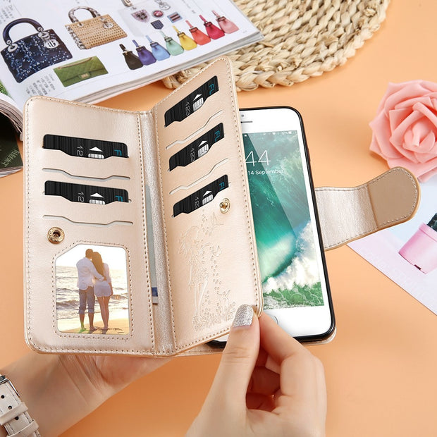 FLOVEME Leather Wallet Case For IPhone 7 6 6S Plus 5 5S SE Phone Cases Girl Makeup Mirror 9 Card Slots Stand Bag For IPhone X 8