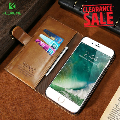 FLOVEME Luxury Leather Wallet Case For IPhone 8 X IPhone 7 Retro Case For IPhone 6s 6 Plus 8 7 Phone Bag Accessories Coque