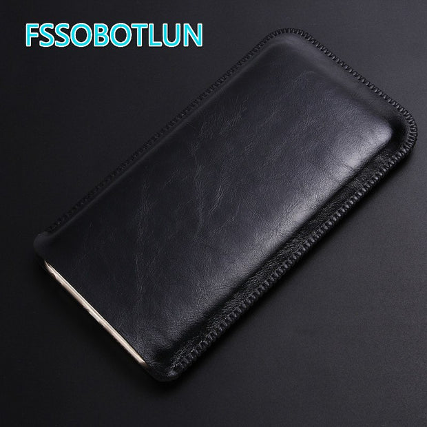 FSSOBOTLUN Best Quality For Iphone 8 Case Luxury Double Layer Microfiber Leather Phone Sleeve Bag Cover Pouch With Card