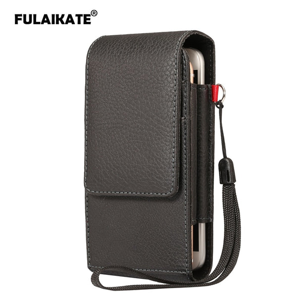 "FULAIKATE 6.0"" Litchi Clip Vertical Waist Bag For Samsung Galaxy S8 Plus S7 Edge Universal Pouch For S6 Edge Plus Note4 Holster"