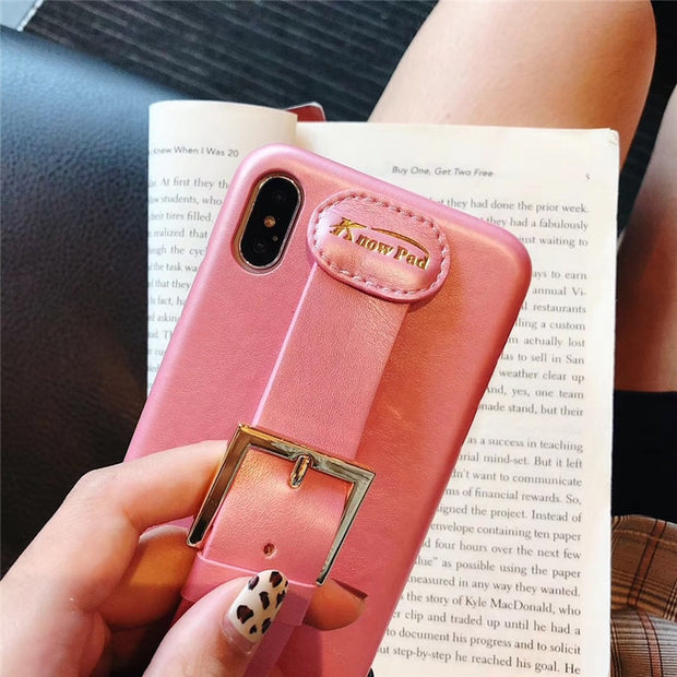 Fashion Leather Protector Cover Fur Back Phone Case Hand Grip Strap Stand Houder Voor Apple IPhone 6 6S 7 8 Plus X XS MAX XR