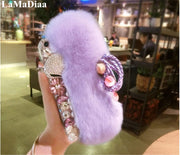 Fashion Rabbit Fur Hair Plush Case For IPhone 8 7 6 6S Plus XR XsMax Cover Luxury Bling Rhinestone Diamond Flower Fox Back Cover