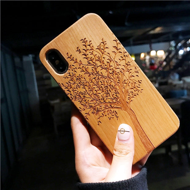 Fashion Real Wood Mandala Hard Case Cover For Apple Iphone 6 6s 7 8 X Plus Covers Fundas Shell For Iphone X
