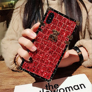 Fashion Super Bling Grid Glitter Rivet Square Case Cover For IPhone XS Max XR X 8 7 6 6S Plus Samsung Galaxy NOTE 9 8 S9 S8 Plus