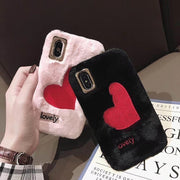 Fashion Winter Warm Phone Cover For Iphone Case 7 7plus 8 8plus Soft TPU Plush Back Cover For Iphone6 6s 6plus X XS MAX XR Love