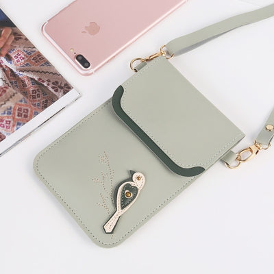 Fashion Bird Small Change Purse Female Buckle Shoulder Bags Mini Messenger Bag Women Mobile Phone Bags For Cellphone Under 6inch