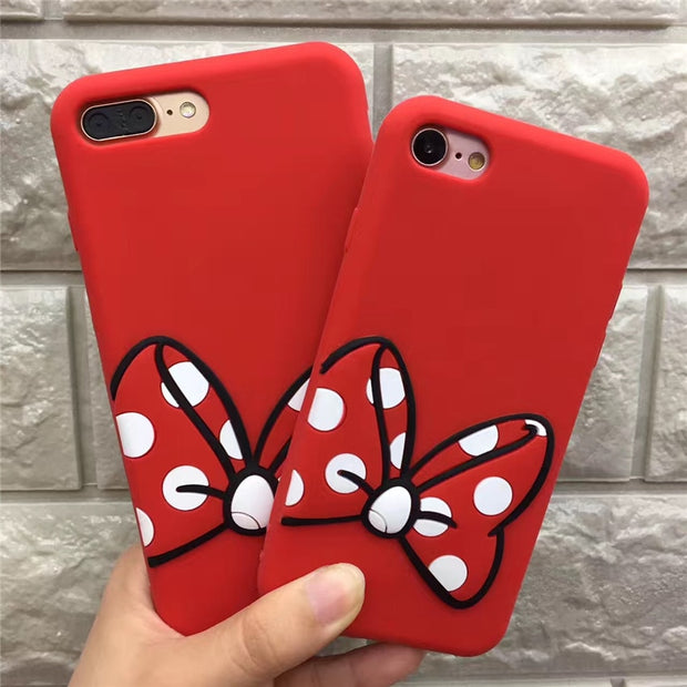 Fashion Lovely 3D Hand Print Soft Silicon Cover Case For Apple IPhone 6 7plus Phone Cases Bowknot Back Cover+long Style Lanyard