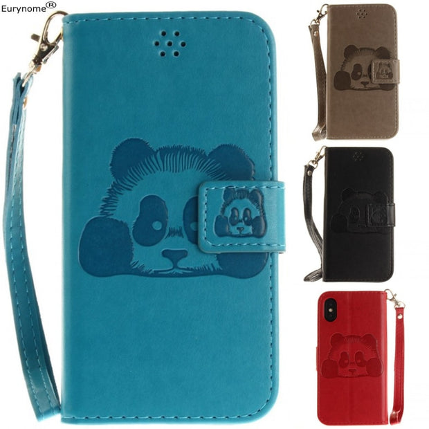 Flip Case For Iphone XS X Cartoon Panda PU Leather Protective Cover Stand Case For Iphone X XS IphoneX Case Screen Film Strap