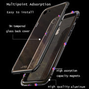 Flip Hard Case For IPhone X 8 Plus 7 Plus Tempered Glass Back Cover Magnetic Adsorption Cover For IPhone 7 8 Metal Frame Coque
