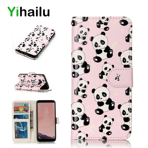 Flip Leather Case For Samsung Galaxy S8 Plus Phone Cases Classical Wallet 3D Panda Pattern Cover For IPhone 5 6 7 Plus Coque