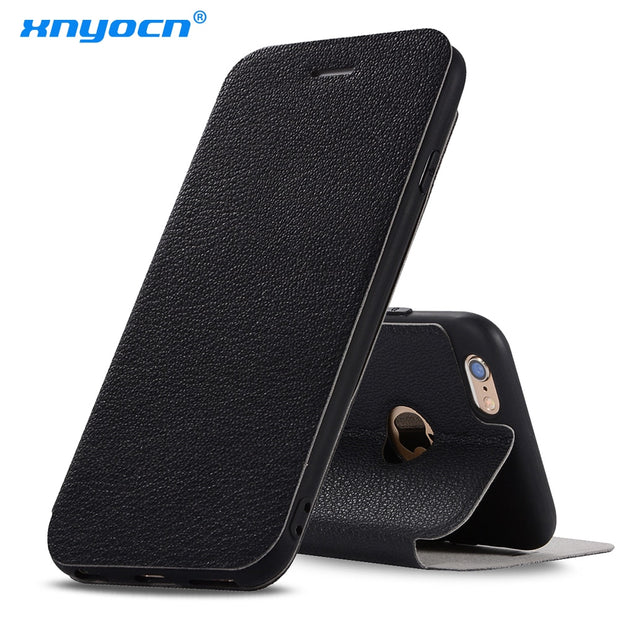 For Apple IPhone 6 6S Case Litchi Leather & Silicone Flip Cover IPhone 6 6s Plus Case With Stand Wallet Coque For IPhone6 Plus